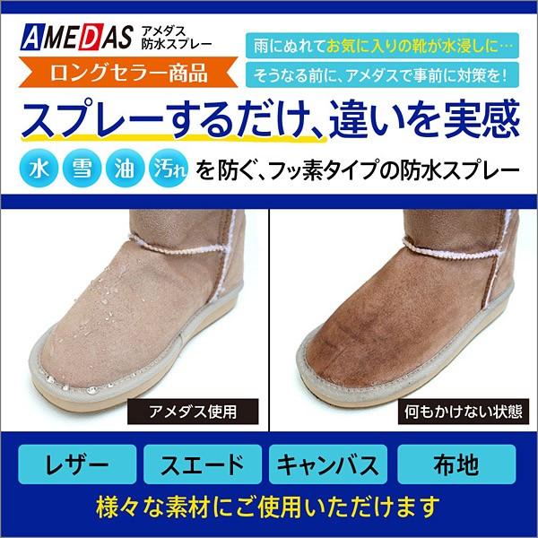 革を雨や汚れから守る! ○フッ素樹脂が通気性を損なうことなく防水・撥油・防汚効果を与えます。 ○防水・撥油・防汚の効果を与え、靴を保護します。