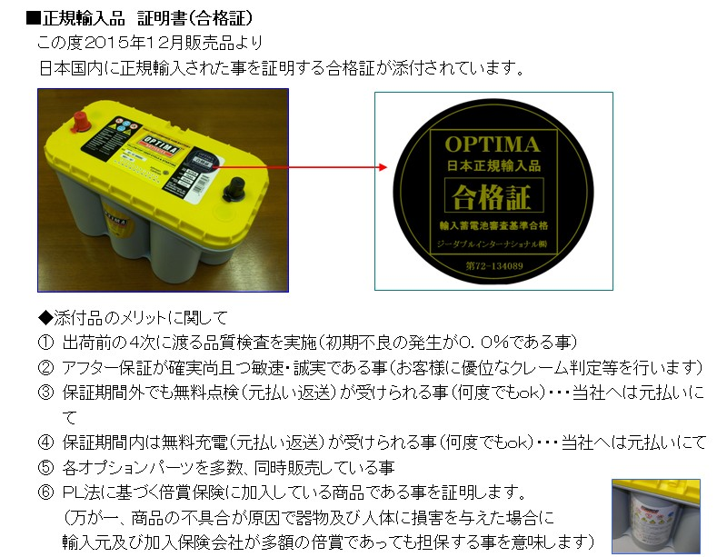 GWインターナショナルが発行する正規品合格証ステッカーが付きます!