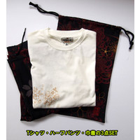 和柄Tシャツ と ハーフパンツ、巾着の3点セット 絡繰魂 金魚刺繍旅のSET UP sousakuzakka-koto 23
