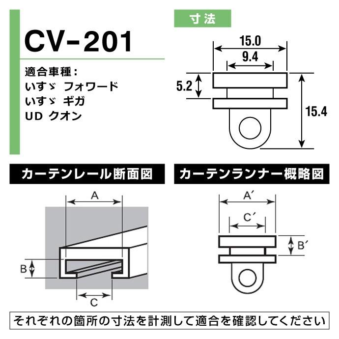 トラック用カーテンランナー(ヤック製) / CV-201 寸法図