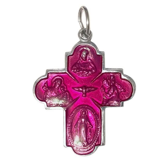 Lサイズ 守護聖人クロス型カラーメダイユ フランス教会正規品 本物 十字架 ペンダント トップ ヘッド メダル シルバー ネックレス spica-france 12