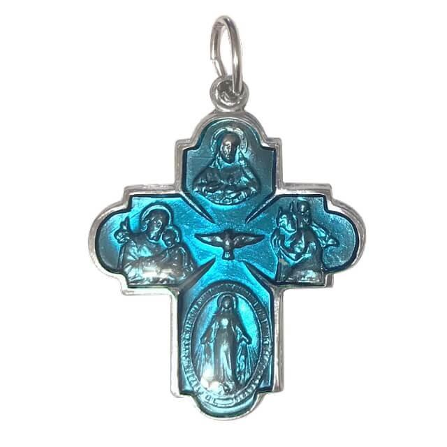 Lサイズ 守護聖人クロス型カラーメダイユ フランス教会正規品 本物 十字架 ペンダント トップ ヘッド メダル シルバー ネックレス spica-france 11