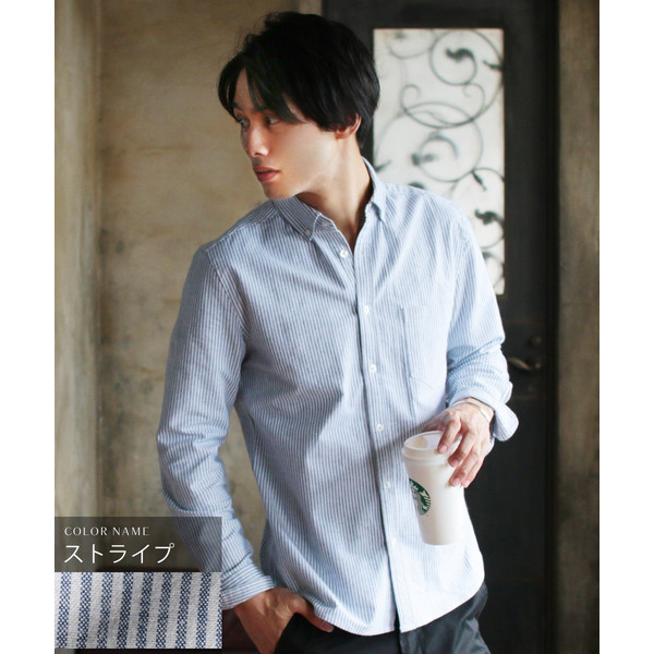 シャツ メンズ カジュアルシャツ メンズ 長袖 人気 オックスフォード ボタンダウンシャツ 予約販売・10月下旬頃発送予定|spu|21