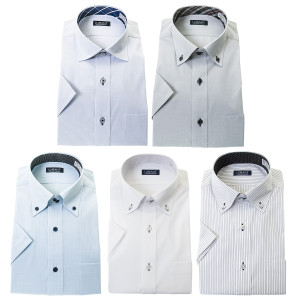 ワイシャツ メンズ 半袖 形態安定 5枚組 おしゃれ メンズ セット 5枚 ビジネス ボタンダウン ストライプ 送料無料 ランキング|シャツステーション