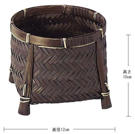 【竹】丸タイプ足付き小物入れ「12×10cm」3Pセット