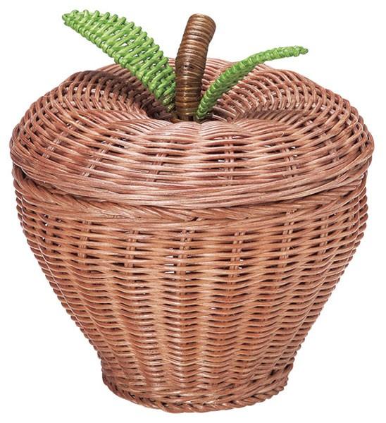 『ラタン』りんご型の蓋付き小物入れ