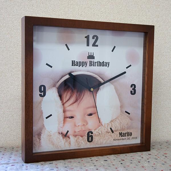 内祝いに写真入り木製フレーム時計