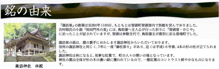 銘の由来 「諏訪泉」の創業は安政6年(1859)。もともとは智頭町智頭宿内で旅館を営んでおりました。 吉村昭氏の小説「桜田門外の変」には、鳥取藩へ主人公が行った折りに「智頭宿・かじや」 に泊ったことが記されていますが、智頭は参勤交代で、鳥取藩主が最初に泊る宿場町でした。 諏訪泉の銘は、蔵の裏手におわします諏訪神社からいただいております。 信州の諏訪神社と同じく、7年に一度「御柱祭り」があり、近くは平成16年春、4本の杉の柱が立てられました。 諏訪神社は秋になると、見事な紅葉で、町の人々の憩いの場となっています。 神社の裏山全体が杉の木の濃い緑に覆われているので、一層紅葉のコントラスト鮮やかなものになります。