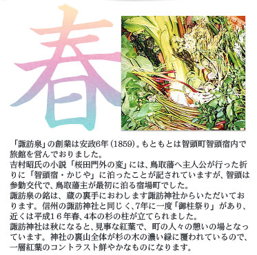 春 「諏訪泉」の創業は安政6年(1859)。もともとは智頭町智頭宿内で旅館を営んでおりました。 吉村昭氏の小説「桜田門外の変」には、鳥取藩へ主人公が行った折りに「智頭宿・かじや」に泊ったことが記されていますが、智頭は参勤交代で、鳥取藩主が最初に泊る宿場町でした。 諏訪泉の銘は、蔵の裏手におわします諏訪神社からいただいております。信州の諏訪神社と同じく、7年に一度「御柱祭り」があり、近くは平成16年春、4本の杉の柱が立てられました。 諏訪神社は秋になると、見事な紅葉で、町の人々の憩いの場となっています。神社の裏山全体が杉の木の濃い緑に覆われているので、一層紅葉のコントラスト鮮やかなものになります。