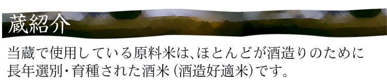蔵紹介 当蔵で使用している原料米は、ほとんどが酒造りのために長年選別・育種された酒米(酒造好適米)です。