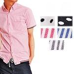 ストライプ・ドット袖リブ半袖ボタンダウンシャツ