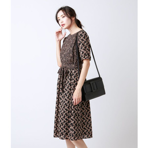 NEWYORKER / リーフプリント5分袖ワンピース|ストライプデパートメントPayPayモール店