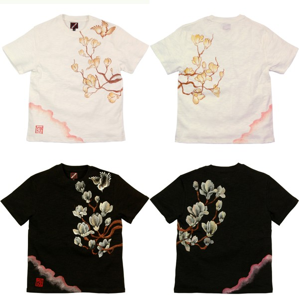 メンズ手描き蓮柄スラブTシャツ1