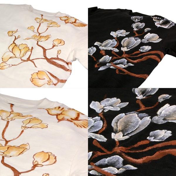 メンズ手描き蓮柄スラブTシャツ2