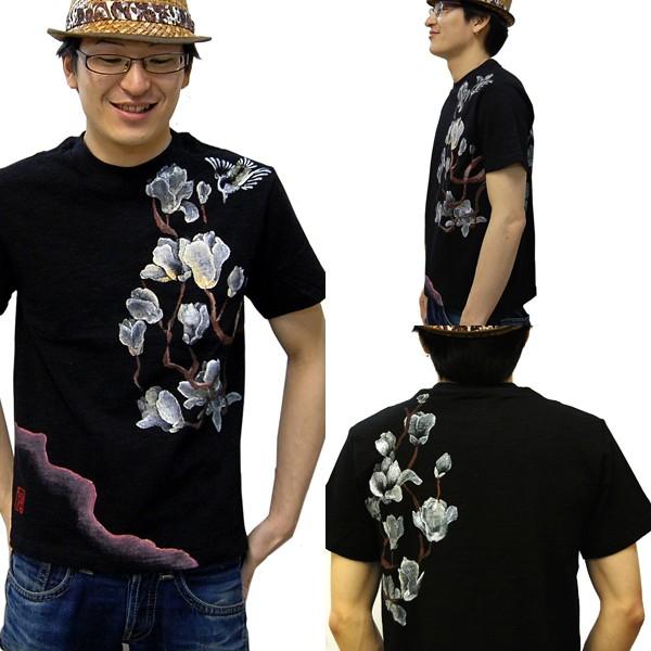 メンズ手描き蓮柄スラブTシャツ4