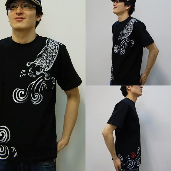 メンズ手描き鯉柄Tシャツ3