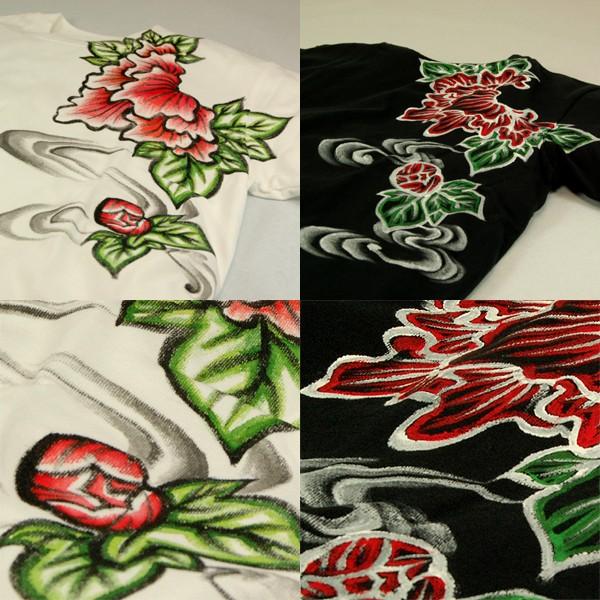 メンズ手描き霞牡丹柄Tシャツツ2
