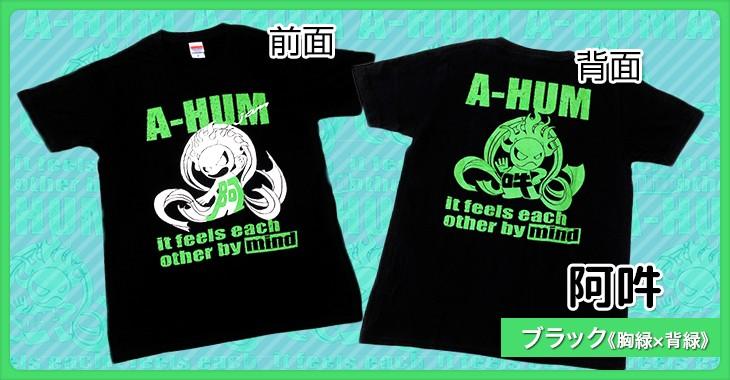 阿吽 ブラック《胸緑×背緑》和柄Tシャツ