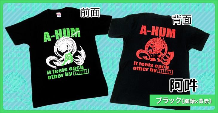 阿吽 ブラック《胸緑×背赤》和柄Tシャツ