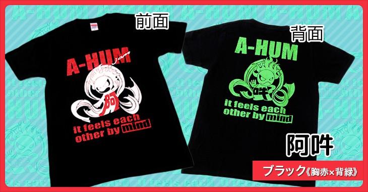 阿吽 ブラック《胸赤×背緑》和柄Tシャツ