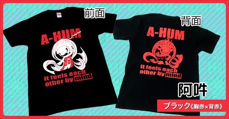 阿吽 ブラック《胸赤×背赤》和柄Tシャツ