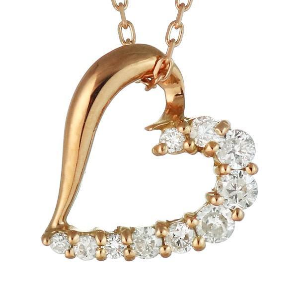 ネックレス レディース 18金 ゴールド ダイヤモンド ネックレス ハート オープン ハート K18 ホワイトゴールド 結婚 10周年記念【今だけ代引手数料無料】|suehiro|09