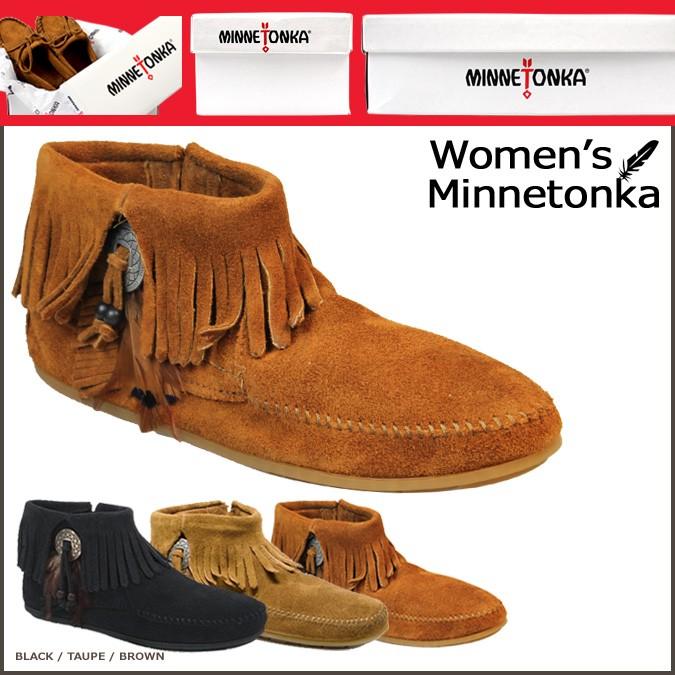 ミネトンカ ブーツ MINNETONKA ブーティー レディース コンチョ フェザー サイドジップ CONCHO FEATHER SIDE ZIP BOOT