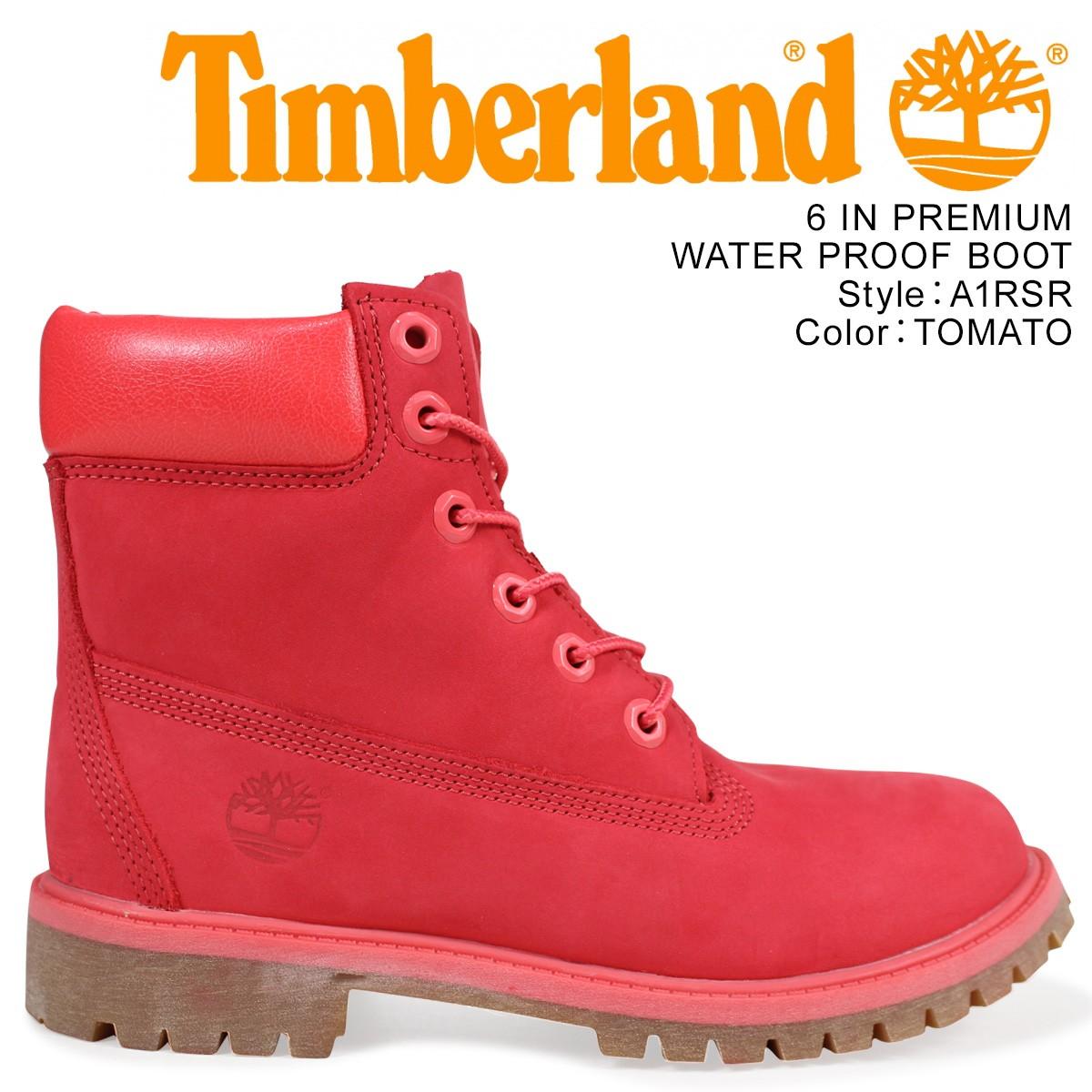 Timberland レディース ブーツ 6インチ ティンバーランド キッズ JUNIOR 6INCH WATERPROOF BOOT A1RSR Mワイズ 防水 レッド
