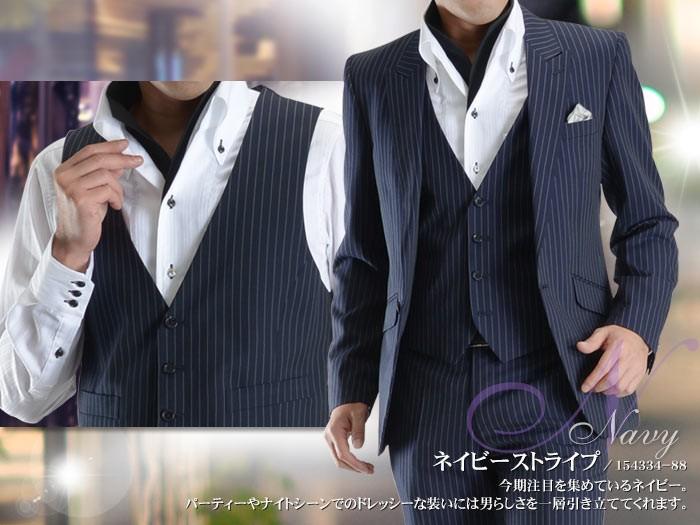 スーツスタイルMARUTOMI 1ツボタンスリーピーススーツの着こなし例 4
