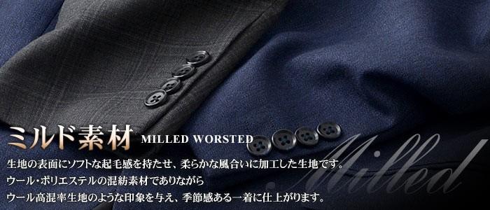 ミルド素材・2ツボタンスタイリッシュスーツ