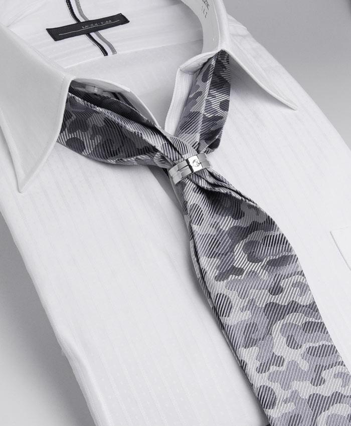 シルク100%素材・5cm幅リング付きスカーフタイ