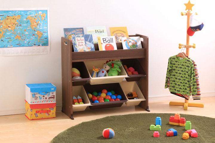 おもちゃ箱玩具箱おもちゃオモチャ収納収納ラック収納ボックスキッズ収納子供部屋子ども部屋キッズ子供子どもこども女の子子供用片付けお片付け知育家具絵本棚付トイハウスラックETHR-26パステルキャロットウォールナットブラウンアイリスオーヤマ