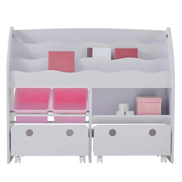おもちゃ箱 収納 ラック ボックス トイ 子供 おしゃれ こども 木製 本棚 シェルフ おもちゃ ワイド sumica 31