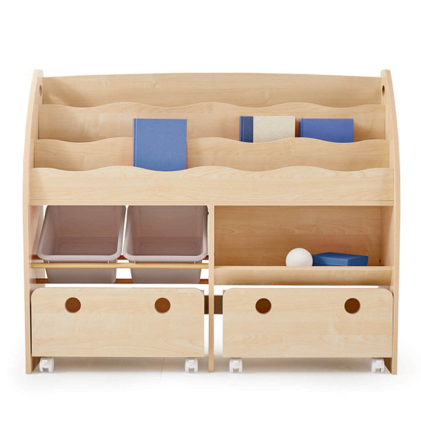 おもちゃ箱 収納 ラック ボックス トイ 子供 おしゃれ こども 木製 本棚 シェルフ おもちゃ ワイド sumica 24