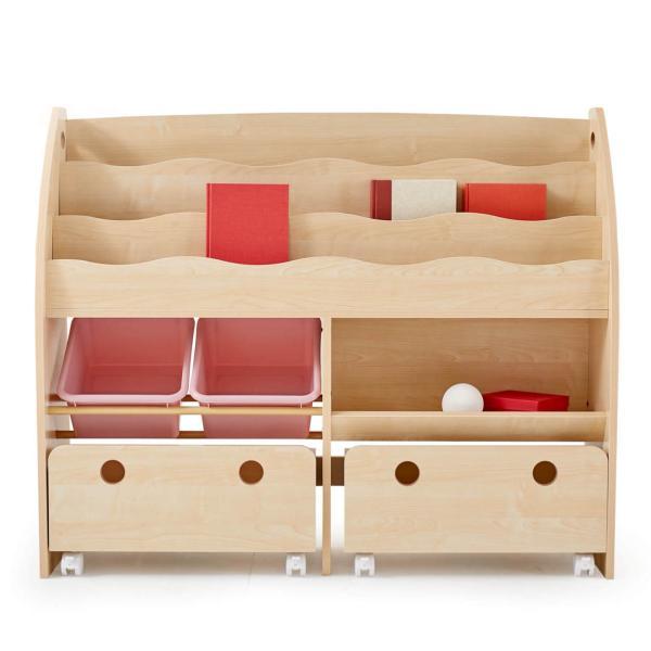 おもちゃ箱 収納 ラック ボックス トイ 子供 おしゃれ こども 木製 本棚 シェルフ おもちゃ ワイド sumica 23