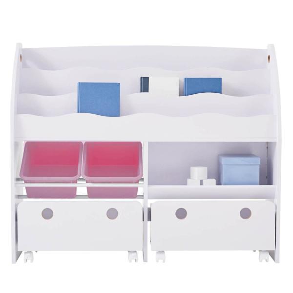 おもちゃ箱 収納 ラック ボックス トイ 子供 おしゃれ こども 木製 本棚 シェルフ おもちゃ ワイド sumica 27