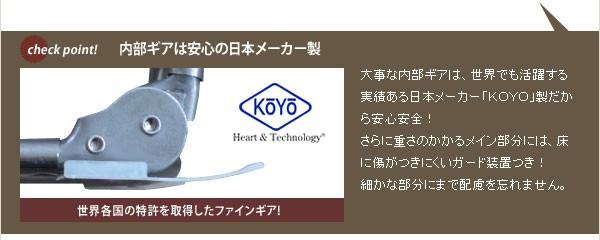 内部ギアは安心の日本メーカー製