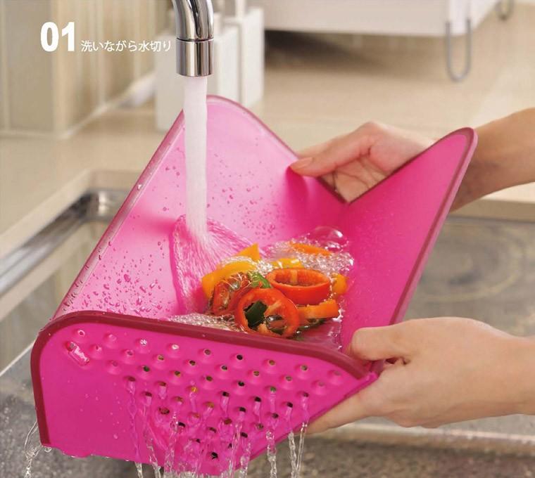 洗いながら水切り