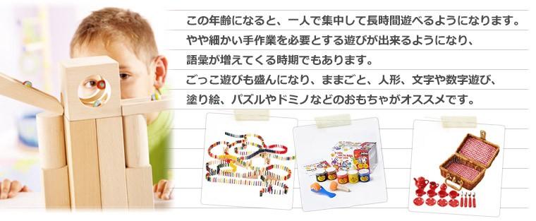 この年齢になると、一人で集中して長時間遊べるようになります。 やや細かい手作業を必要とする遊びが出来るようになり、語彙が増えてくる時期でもあります。 ごっこ遊びも盛んになり、ままごと、人形、文字や数字遊び、塗り絵、パズルやドミノなどのおもちゃがオススメです。