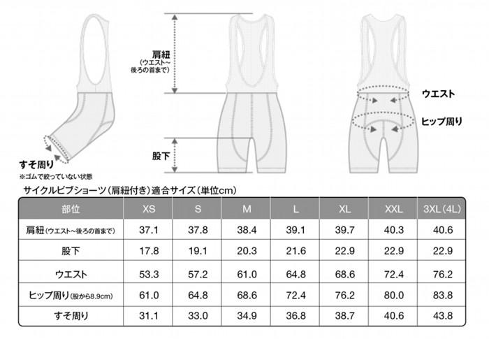 ビブショーツサイズ表