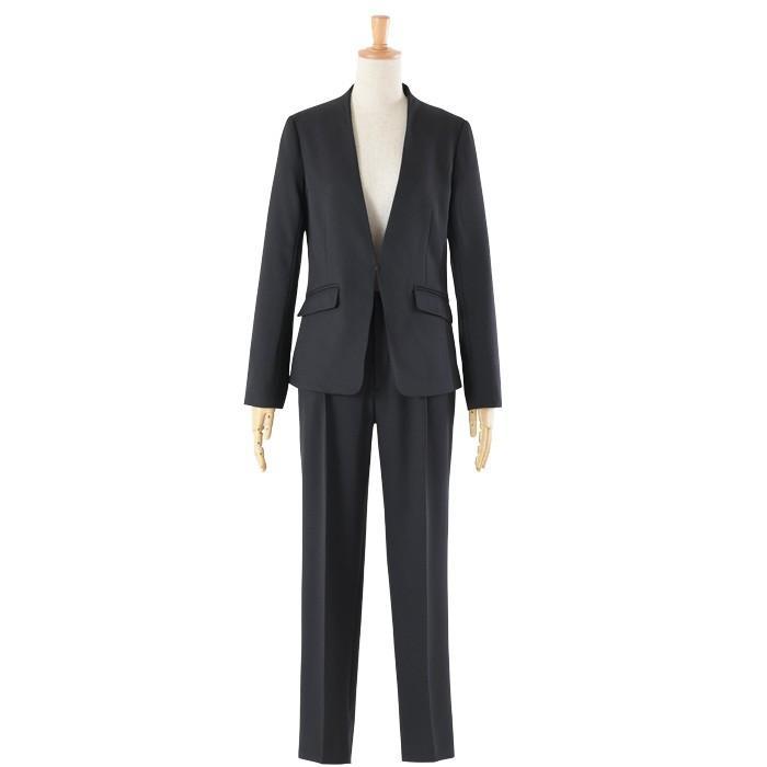 スーツ レディース パンツスーツ 洗える ストレッチ シャドーストライプ パンツ ビジネス オフィス 通勤 OL 女性 黒 紺 ネイビー 小さいサイズ 大きいサイズ sutekitaiken 30