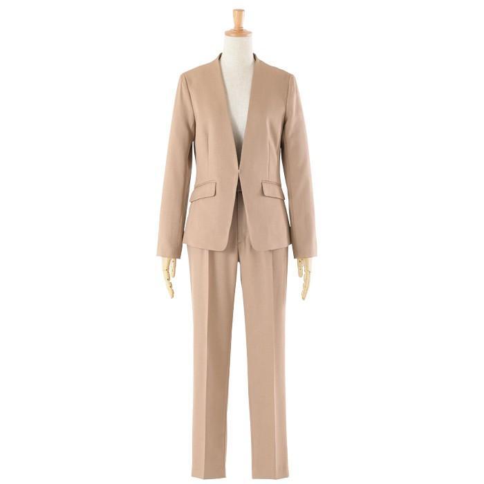 スーツ レディース パンツスーツ 洗える ストレッチ シャドーストライプ パンツ ビジネス オフィス 通勤 OL 女性 黒 紺 ネイビー 小さいサイズ 大きいサイズ sutekitaiken 32