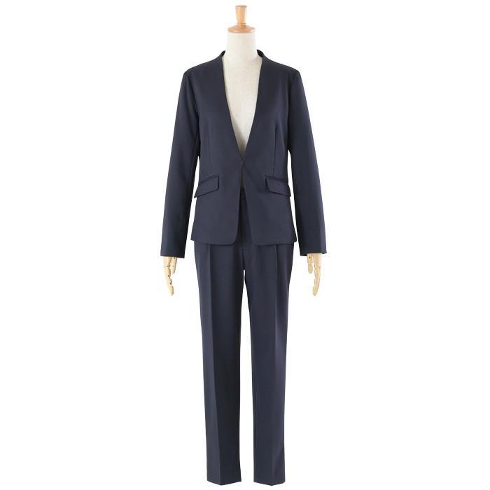 スーツ レディース パンツスーツ 洗える ストレッチ シャドーストライプ パンツ ビジネス オフィス 通勤 OL 女性 黒 紺 ネイビー 小さいサイズ 大きいサイズ sutekitaiken 31