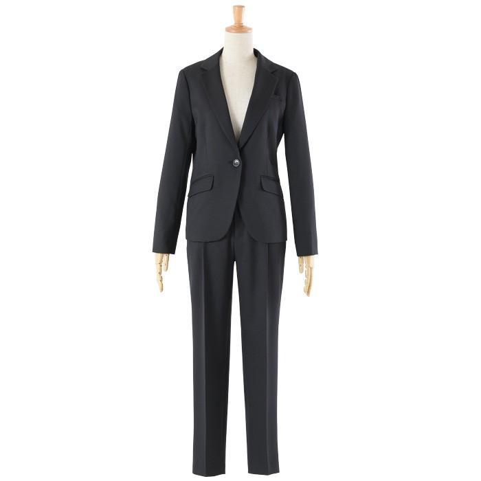 スーツ レディース パンツスーツ 洗える ストレッチ シャドーストライプ パンツ ビジネス オフィス 通勤 OL 女性 黒 紺 ネイビー 小さいサイズ 大きいサイズ sutekitaiken 24