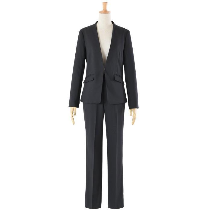 スーツ レディース パンツスーツ 洗える ストレッチ シャドーストライプ パンツ ビジネス オフィス 通勤 OL 女性 黒 紺 ネイビー 小さいサイズ 大きいサイズ sutekitaiken 27