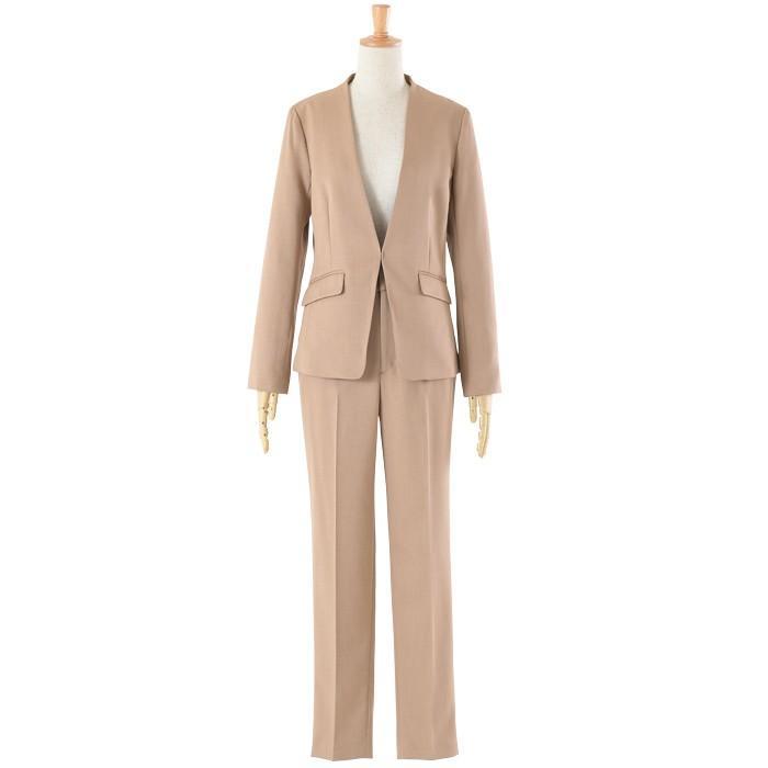 スーツ レディース パンツスーツ 洗える ストレッチ シャドーストライプ パンツ ビジネス オフィス 通勤 OL 女性 黒 紺 ネイビー 小さいサイズ 大きいサイズ sutekitaiken 29