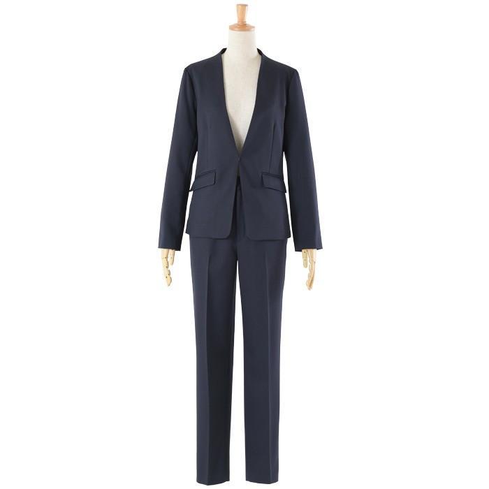 スーツ レディース パンツスーツ 洗える ストレッチ シャドーストライプ パンツ ビジネス オフィス 通勤 OL 女性 黒 紺 ネイビー 小さいサイズ 大きいサイズ sutekitaiken 28