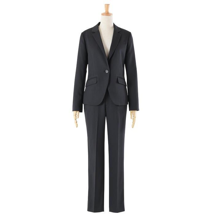 スーツ レディース パンツスーツ 洗える ストレッチ シャドーストライプ パンツ ビジネス オフィス 通勤 OL 女性 黒 紺 ネイビー 小さいサイズ 大きいサイズ sutekitaiken 21