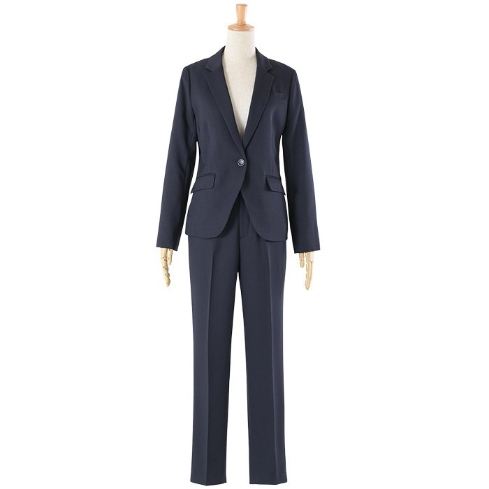 スーツ レディース パンツスーツ 洗える ストレッチ シャドーストライプ パンツ ビジネス オフィス 通勤 OL 女性 黒 紺 ネイビー 小さいサイズ 大きいサイズ sutekitaiken 22