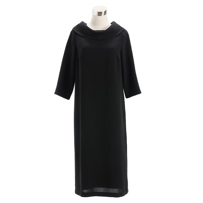 喪服 レディース 洗える ロング丈 ワンピース 礼服 夏 ブラックフォーマル ロールカラー 20代 30代 40代 50代 ゆったり 大きいサイズ 小さいサイズ|sutekitaiken|17